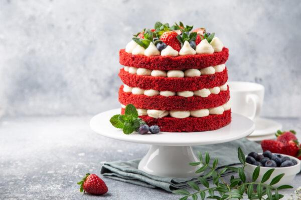 Four Layer Red Velvet Naked Cake